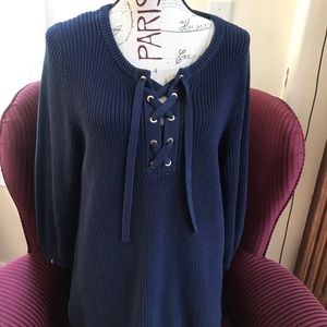 Tommy Bahama size:L lace-up neck sweater blue.